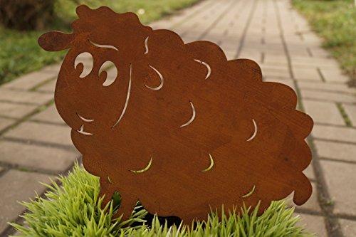 Dekostüberl Edelrost Schaf Sally mit Schraube 20 cm für Holz Gartendekoration Tierfigur