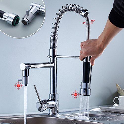 Auralum Moderno 360°Rubinetto lavabo alto cromato lavandino monocomando miscelatore per bagno e cucina(acqua fredda e calda),miscelatore rubinetto cucina con flessibili monoforo in ottone