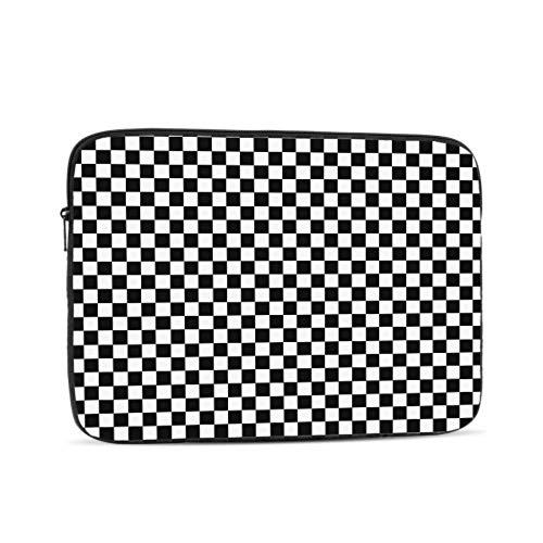 Black White Plaid Gingham Checkered Pattern 13-13.3 Inch Laptop Sleeve Bag, Waterproof Shock Resistant Neoprene Notebook Protective Bag Carrying Case Compatible MacBook Pro/MacBook Air