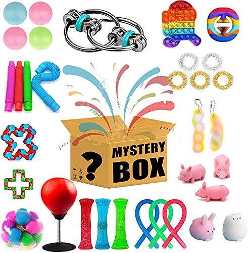 Caja de Regalo misteriosa, 30 Juegos de Juguetes Fidget aleatorios, Juguetes sensoriales Baratos para Adultos y niños, Herramientas contra el estrés y la ansiedad, Todos los artículos Son nuevos