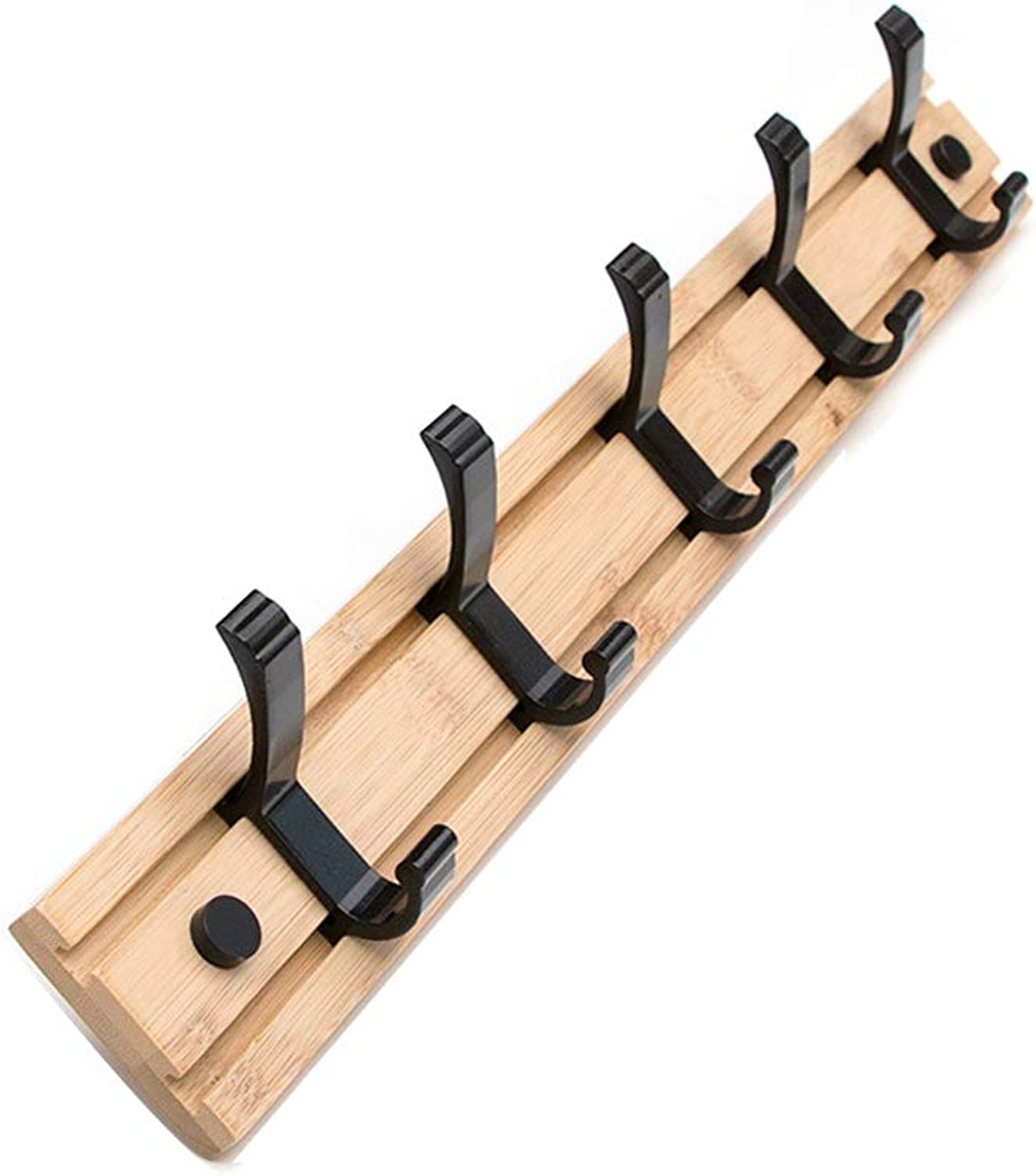 Wall-Mounted Coat Rack, Japanese-Style Home Solid Wood Wall Coat Rack Removable Wall Hook (Size   Five Hooks)