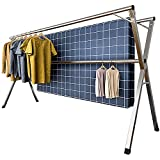 YACASA Clothes Drying Rack, 79 inch Stainless Steel Laundry Dry Racks, Foldable Adjustable Space Saving Cloths Rack, with Windproof Hooks