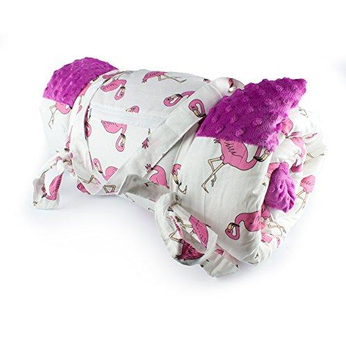 1buy3 Spiel- und Picknickdecke, wärmeisoliert und wasserdicht mit Tragegriff, Pink + Flamingos, 170 x 140 cm