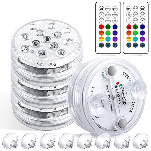 Luces Sumergibles, 8.5cm 4PCS Luz Piscina Impermeable, 16 Colores 13 LED con Control Remoto y Ventosas Lluminación para Estanques, Piscinas, Acuario, Jardín, Baño