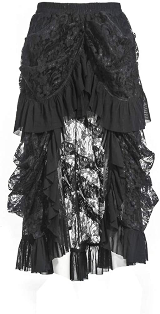 Womens Skirts Black Skirt Steampunk Retro Gothic Vintage Ruffle High Low Lace Party Skirt