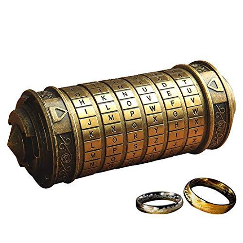 wyhweilong Retro Da Vinci 3D Cryptex Code Lock Cajas Aniversario de San Valentín con El Señor de Los Anillos