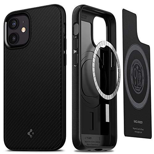 Spigen MagSafe 対応 ケース マグネット搭載 iPhone12 Mini 用 ケース 5.4インチ TPU マグセーフ ワイヤレス充電対応 米軍MIL規格取得 耐衝撃 すり傷防止 アイホン12プロマックスケース カバー シュピゲン マグ・アーマー ACS01866 (マット・ブラック)