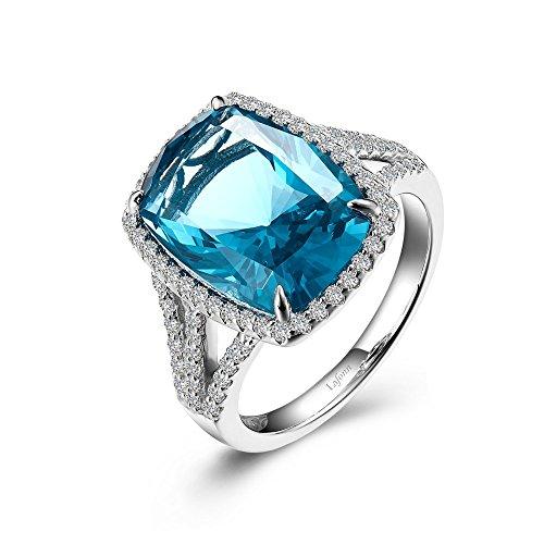 Lafonn Klassische Sterling Silber-Platin überzog paraiba turmalin Ring (10,26 cttw)