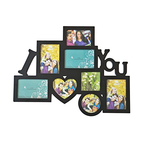 Adeco Decorative Black Wood 8 Openings Decorative Wood I Love You Collage Wall Hanging Picture Photo Frame, 4x6 in, 4.5x5 in, 3.5x5 in and 4x4 in