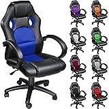 TecTake Chaise fauteuil siège de bureau hauteur réglable sportive - diverses couleurs au choix - (Bleu)