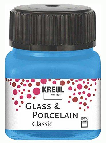 Kreul 16219 - Glass und Porcelain Classic, brillante Glas- und Porzellanmalfarbe auf Wasserbasis, schnelltrocknend, deckend, 20 ml im Glas, hellblau