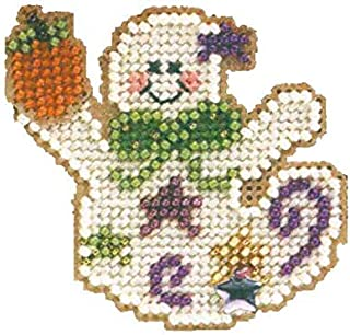 Ghostly Fun Beaded Counted Cross Stitch Halloween Ornament Kit Mill Hill 2002 Autumn Harvest MHAH53