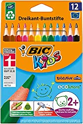 The triangular shape of the BIC Kids Evolution Triangle colouring pencils is specially developed for kids 2 and up This wallet of 12 contains pencils in 12 vibrant colours with extra-wide leads for colouring in large areas in no time The super durabl...