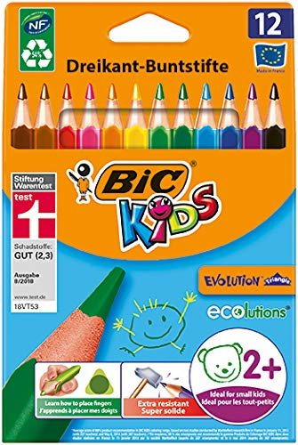 BIC Kids Evolution Triangle ECOlutions Lápices de colores Triangulares - colores Surtidos, Blíster de 12 unidades