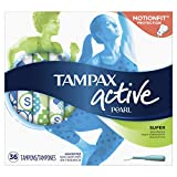 Tampax Pearl Active Plastic Tampons, Super Absorbency, Unscented, 36 Count (Packaging May Vary)