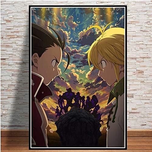 Anime de Japón del cartel del arte Comic los siete pecados capitales carteles e impresiones cuadro de la pared de la pintura la decoración del hogar ( Color : 007 , Size (Inch) : 50x70cm No frame )