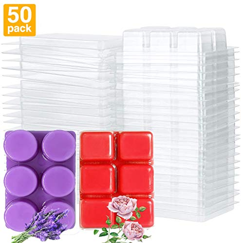 Kampo Wax Melt Mold, Wax Melt Molds Square and Round (25+25), 6 Cavity Clear Plastic Tray for Candle-Making & Soap (25 Square Molds+25 Round Molds)