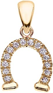 Reversible Diamond And High Polish Plain 14k Yellow Gold Horseshoe Good Luck Charm DaintyPendant