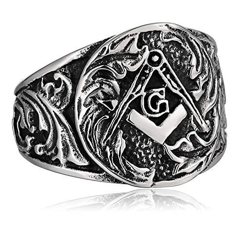 Blisfille Silberring Jugendstil Ring Männer Islam Vintage Finger Freimaurer Mter Silber Gr. 62 (19.7)