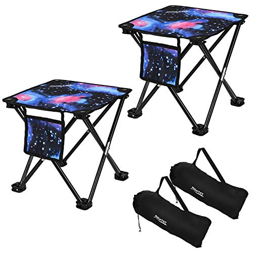2 Pack Camping Stool,Portable Folding Compact Lightweight Stool Seat for Camping Fishing Hiking Gardening Outdoor Walking Backpacking Travelling and Beach 400 LBS Capacity with Carry Bag