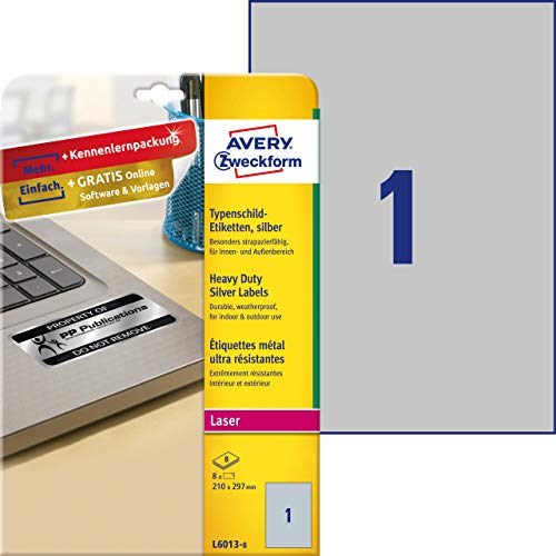 Avery Italia L6013-8 Etichette in Poliestere, 210 x 297 mm