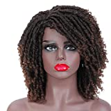 Dreadlock Wig Braided Wigs for Black Women 6 Afro Short Synthetic Twist Curly Wigs (6', T1B/30)