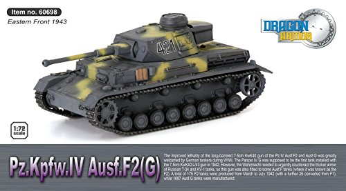 Dragon Armor 60698 - Z.KPFW.IV Ausf.f2(G) Frente Oriental 1943 - Escala 1/72 - maqueta de Tanque montado y Pintado con Vitrina Transparente
