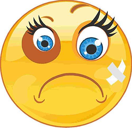 kleberio Aufkleber Emoji Smiley Veilchen im Gesicht mit Pflaster Sticker Auto Motorrad Caravan wetterfest 10 x 10 cm