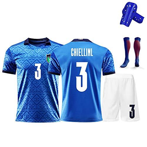 CBVB Fußballset, Chiellini, 20-21 Italien Europäischer Tasse Nationalmannschaft Home und Away Game Trikots, Gedenksgeschenk, Erwachsener Fußballklub für Kinder Blue-S