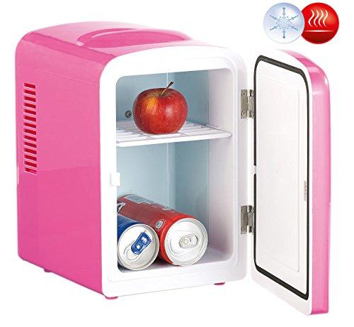 Rosenstein & Söhne Dosenkühlschrank: Mini-Kühlschrank AC/DC, 12/230V 4l, mit Warmhalte-Funktion, pink (Dosen Kühler)