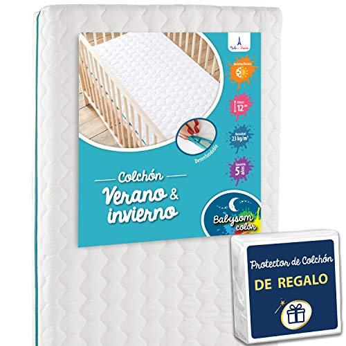 Babysom - Colchón Cuna Bebé Verano/Invierno + 1 Protector de colchón impermeable DE REGALO - 60 x 120 cm - Antiasfixia - Transpirable - Reglaje Térmico