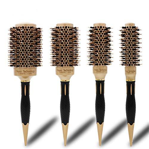4pcs Peigne professionnel, Nano Céramique & Ionic Barrel Brosse thermique ronde Coiffure brosse de curling de séchage pour la maison et salon de coiffure (A)