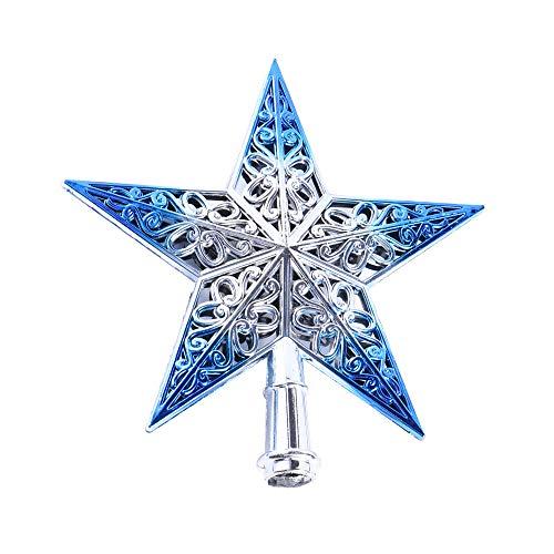 doublebulls décor cavità Stella Puntale Albero di Natale, Decorazioni Natalizie, Brillante, Blu E Argento, 20Cm(7.9')