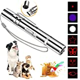DMY Cat Toys Interactive-7 in 1 Function Chaser Toy-USB Rechargeable-Multi Pattern Funny & Mini Flashlight Interactive LED Light Entertain Training Tool for pet (Sliver)