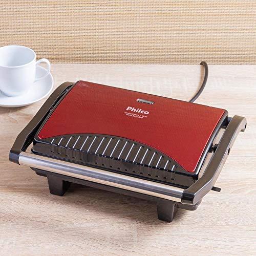 Sanduicheira e grill, Press inox red, 1200w, Vermelho, 110V, Philco