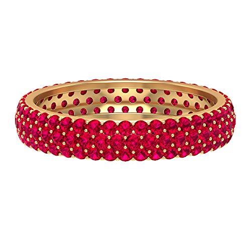 Anillo de aniversario de boda, 1,7 quilates rubí anillo de eternidad, anillo de aniversario único, anillo de cúmulo de piedras preciosas, 14K Oro amarillo, Size:EU 70