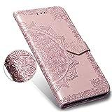 LAGUI Funda Adecuado para Samsung Galaxy J4+ (J4 Plus), Relieve Dibujo Carcasa de Tipo Libro con Ranuras para Tarjetas de Soporte Horizontal y Solapa con Cierre magnético, Oro Rosa