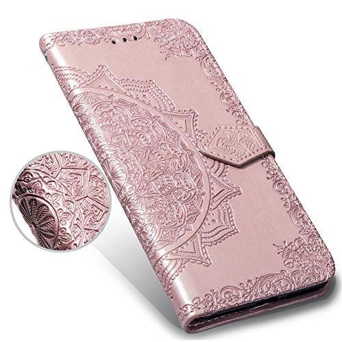 LAGUI Funda Adecuado para Xiaomi Redmi Note 6 Pro, Relieve Dibujo Carcasa de Tipo Libro con Ranuras para Tarjetas de Soporte Horizontal y Solapa con Cierre magnético, Oro Rosa