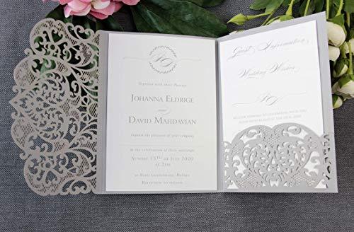 Apribile taglio laser inviti matrimonio fai da te partecipazioni matrimonio bianca carta con busta - campione prestampato !!