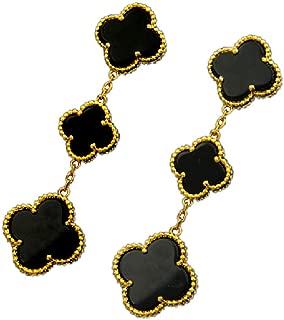 Women Black Onyx 18K Gold Plated 3-flowered Four-leaf Clover Earrings/Classic Fashion 4 Leaf Clover Earrings,925 Sterling Silver 3 Color Flower Shape Earrings