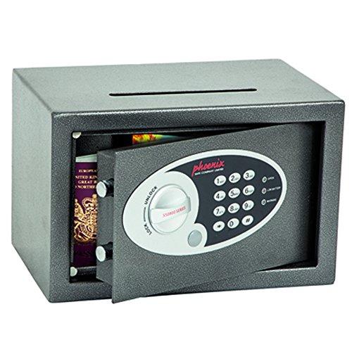 Phoenix Vela SS0801ED Deposit Home & Office Safe met elektronisch codeslot, grafietgrijs (zeer klein)