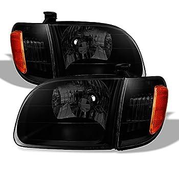 ACANII - For Blk Smoke 2000-2004 Toyota Tundra Regula/Access Cab Headlights +Corner Lamps Driver + Passenger Side