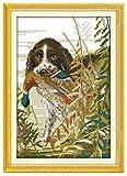 Lucsiky Kits de punto de cruz contados -Mordeduras de perro pato 18x22cm- Kit de bordado a mano con patrón de punto de cruz Diy Kit de bordado impreso Set decoración del hogar