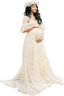 Women's Off Shoulder Ruffle Sleeve Lace Maternity Gown Maxi Photography Dress