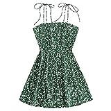 ZAFUL Vestido de verano para mujer, estampado floral, tirantes finos, corbata, hombros sin mangas, mini vestido verde XL