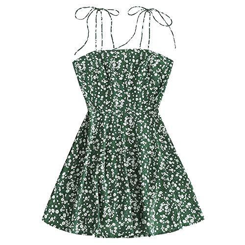 ZAFUL Damen Ditsy Print Sommerkleid Strandkleid Floral Spagettiträger Krawatte Schulter Ärmelloses Kleid MiniKleid(Grün,M)