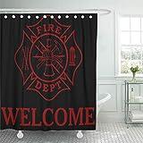 N\A Duschvorhang Rote Feuerwehr Feuerwehr Malteserkreuz 24 Feuerwehrabteilung Home Decor wasserdichte Bad Badvorhänge Set mit Haken
