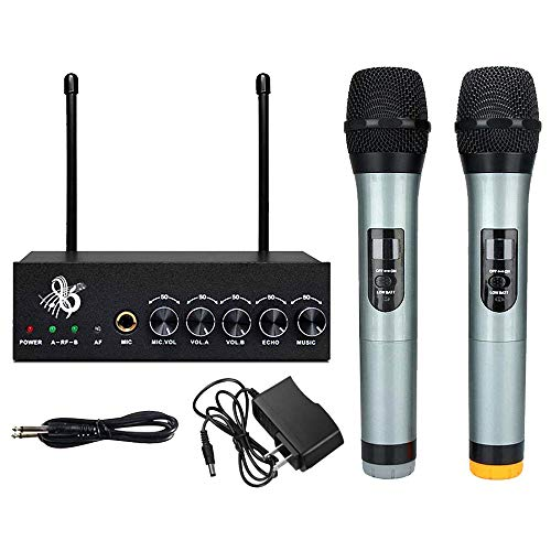 Microphone System VHF Wireless Bluetooth Microphones Singing Machine Dual Channel Handheld Independent Volume Controls for Karaoke Smart Phone/iPad/PC/TV/Tablet (Black)