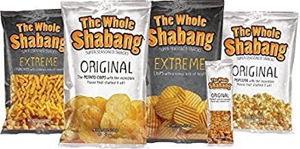 WHOLE SHABANG VARIETY PACK Includes: 2 Whole Shabang Original 6 oz. bags 2 Whole Shabang Extreme 6 oz. bags 2 Whole Shabang Extreme Crunchies 9.5 oz. bags 2 Whole Shabang Popcorn 5 oz. bags 4 Wh