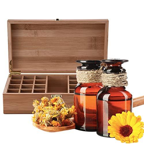 Caja de madera para aceites esenciales - Almacenamiento de aceites esenciales para botellas de 5/25/35/75 - Kit de maderoterapia Ideal para Drams de 5ml 10ml y 15ml Pino natural, Estuche de madera